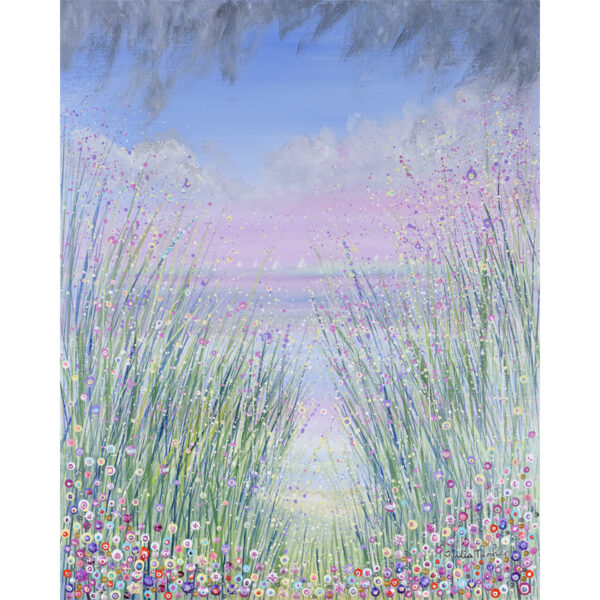 Floral seascape acrylic painting