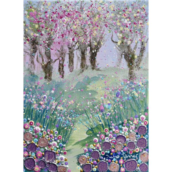 A framed original painting of a woodland with cherry blossom on the trees using acrylic golden acrylic paint and Pebeo mixed media paints