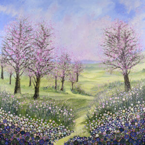 a painting of cherry trees with pink blossom using acrylic paint