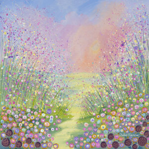 an-original-flower-meadow-painting-depicting-wildflowers-and-grasses-with-acrylic-and-oil-paints-the-sky-is-pink