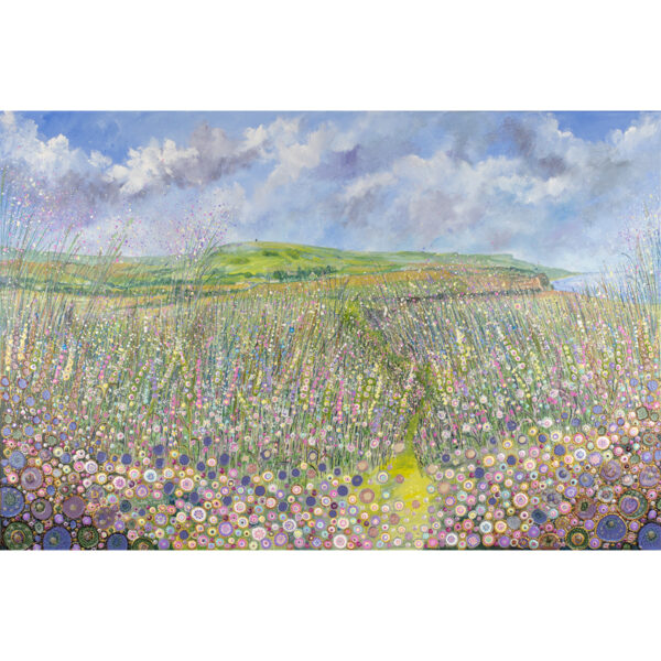 a-painting-of-the-view-towards-the-pepperpot-on-the-isle-of-wight-showing-wildflowers-grasses-and-the-sea-using-acrylic-and-oil-paints