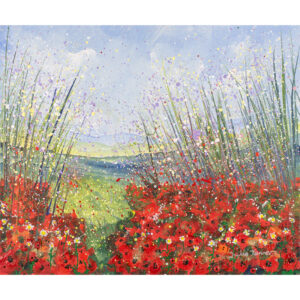 a-framed-original-painting-of-a-field-of-poppies-using-acrylic-paint