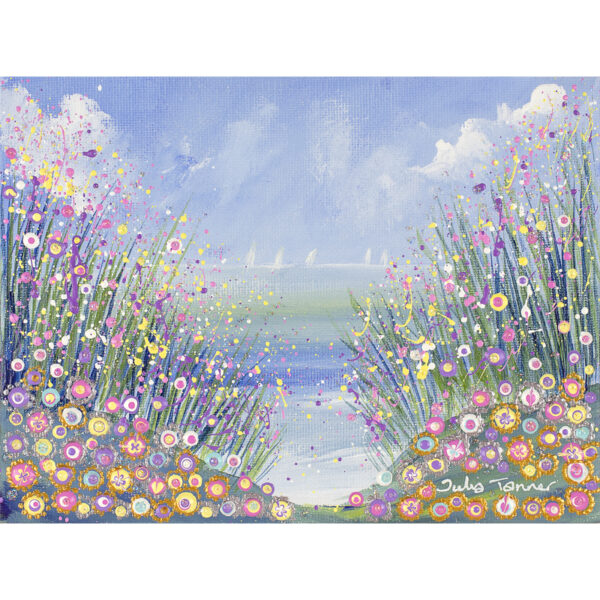a-framed-original-painting-showing-the-sea-and-wild-flowers-in-acrylic-and-oil-paint