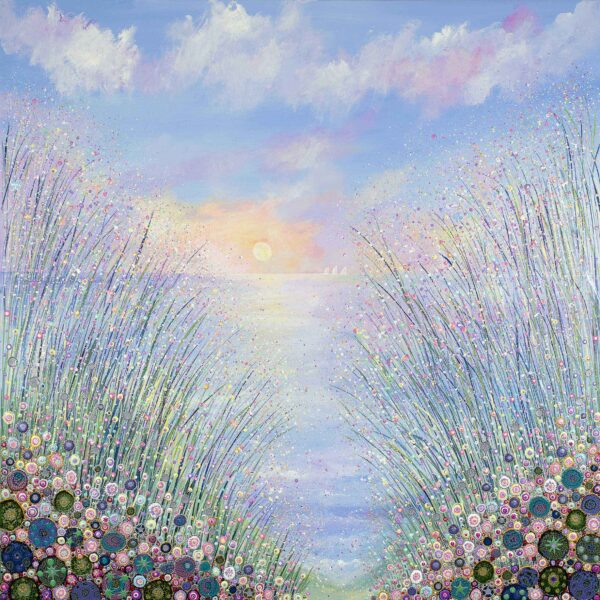 large-framed-original-acrylic-painting-showing-flowers-at-the-edge-of-the-sea